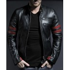 Luk Muk Men´s leather jacket Red Lines