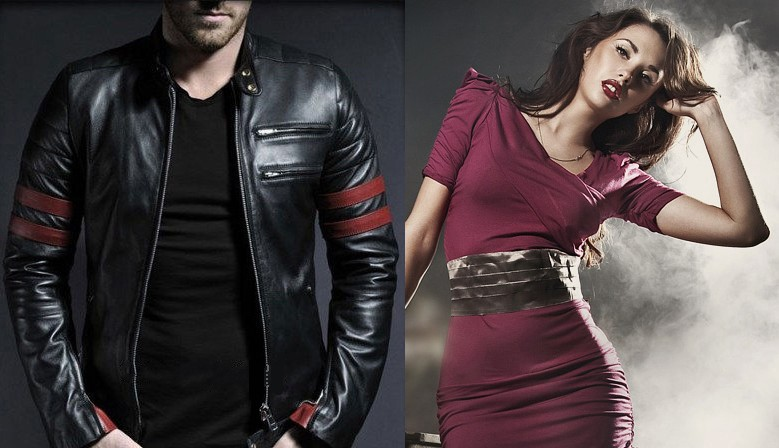 Men´s leather jacket Red Lines